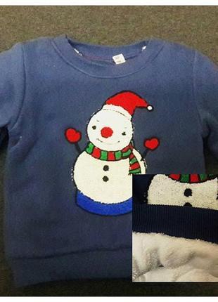 Теплый реглан на меху 2-5 лет снеговик, кофта, свитер, свитшот, начесом, новогодний