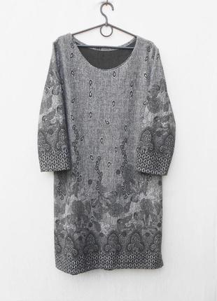 Осенние зимнее трикотажное платье с орнаментом 50% из вискозы