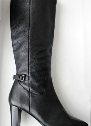 Демисезонные высокие сапоги на каблуке натуральная кожа италия4 фото