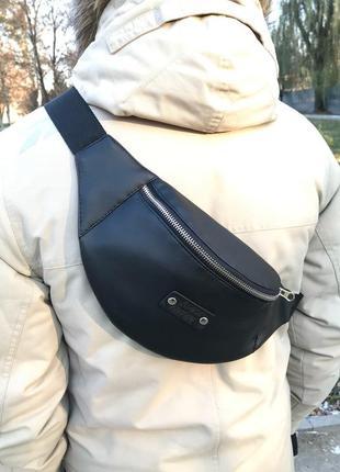 Кожаная бананка black edition,чёрная,сумка на пояс,кондукторка