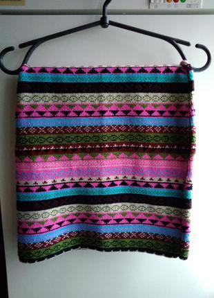 Теплая вязаная ращноцветеая зимняя юбка размер 8
