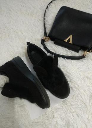 Ботинки с ушками натуральный мех кролика