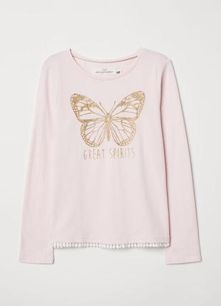Нарядная кофточка с бабочкой лонгслив футболка блузка для девочки h&m оригинал 6-7-8 л