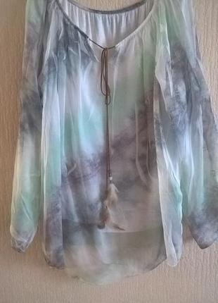 Стильная блуза с перышками италия