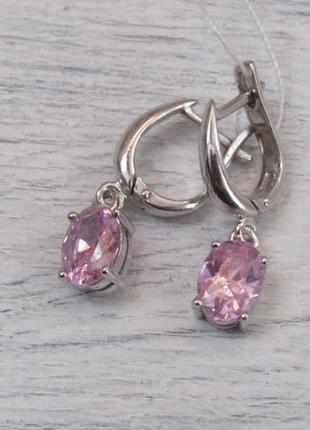 Серебряные серьги с розовыми вставками