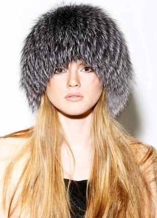 Теплая меховая шапка, чернобурка