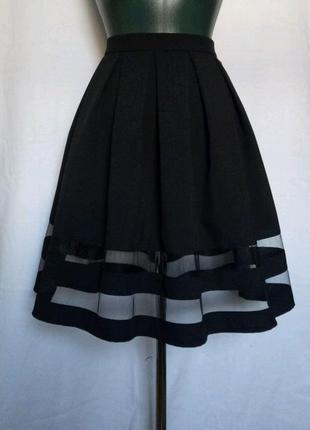 Черная нарядная пышная праздничная юбка в складку с сеткой р xs s m l xl xxl