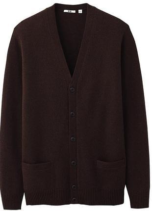 Стильный актуальный теплый модный шерстяной кардиган шерсть uniqlo