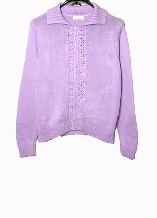Классный вязаный свитер кардиган на молнии
