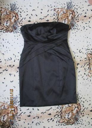 Черное платье футляр с переплетами/без брителей uk 16/48-50 размер