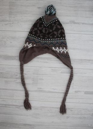 Теплая оригинальная шапка с косичками hema