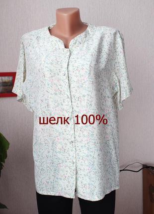 100% шелк блуза в цветы л размер 40 блуза в цветочный принт шелковая блуза