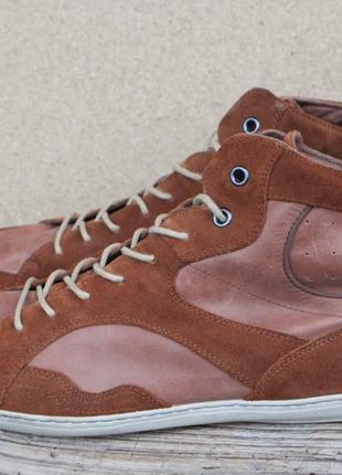 Кеды bianco man италия кожа + замша 45р ботинки кроссовки мужские
