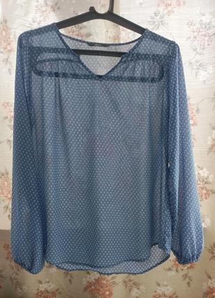 Блузка голубая полупрозрачная шифоновая блуза