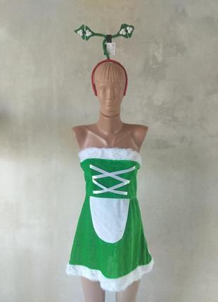 Рождественский костюм эльфа, новогодний наряд, карнавальное нарядное платье