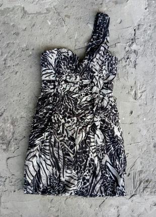 Платье на одно плечо, животный принт на вечеринку, корпоратив, праздник, новый год