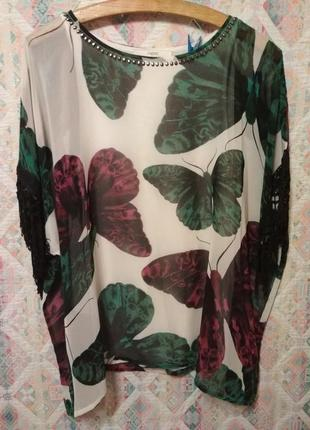 Блуза свободный крой с бабочками бахромой пончо