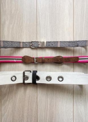 Набор 3 шт: розовый пояс, чёрно-белый ремень, белый пояс
