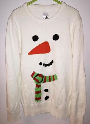 Новогодний свитер снеговик .от паломино