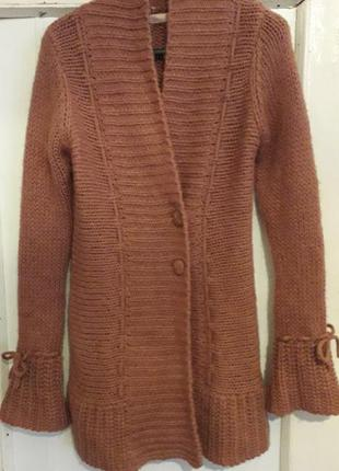 Женский culture теплый вязаный длинный кардиган шерсть пуговицы оверсайз демисезон зима