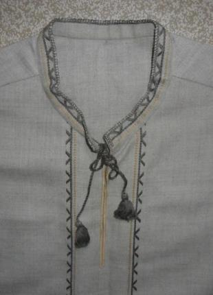 Стильная рубашка мужская вышиванка грубый холст лен  44-46р