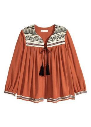 Накидка h&m в стиле бохо. новая блуза с кисточками