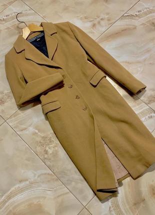 Коричневе шерстяно-бавовняне пальто damo donna