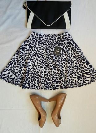 Новая леопардовая юбка солнце клеш