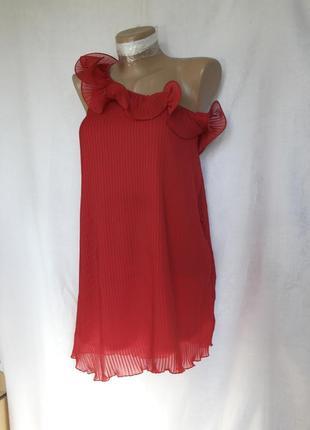 Красная плиссированная блузочка на одно плечо (xxl,xxxl)