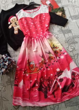 Новогоднее платье миди!размер m-l