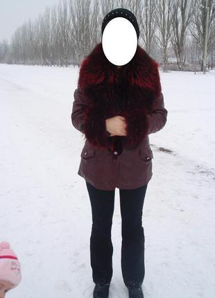 Куртка кожаная с мехом енот натуральная