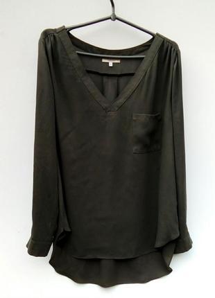 Шелковая блуза блузка хаки papaya