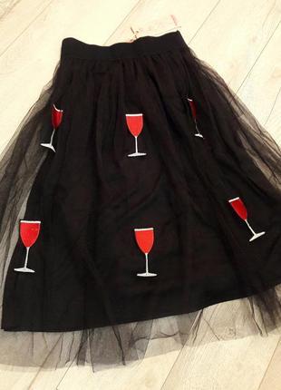 Эксклюзивная пышная юбка пачка миди фатин с нашивками вышивкой бокал, вино, винишко