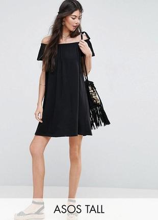 Платье мини с открытыми плечами, элегантный стиль от mango