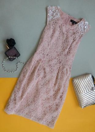 Нежное гипюровое платье с паетками