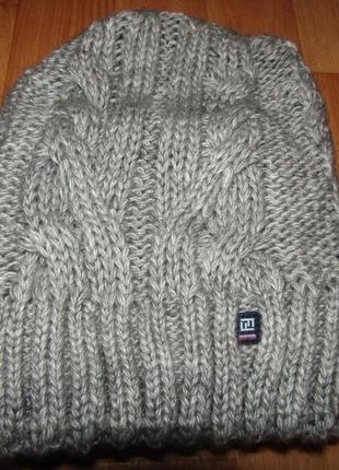 Шапка вязанная косы зима двойная теплая серая
