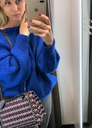 Теплий якісний светр із круглим коміром zara! шерсть та мохер! оригінал, з німеччини!