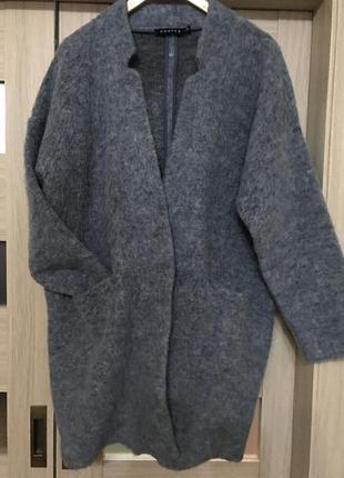 Стильное пальто из валяной шерсти ,мохер, италия
