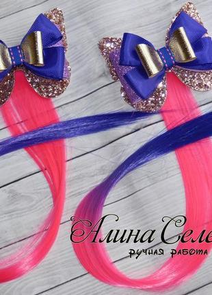 Цветные пряди  с бантиками