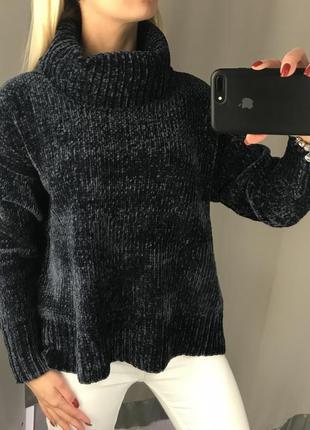 Мягенький свитер с горлом велюровый свитерок. amisu. размеры уточняйте.