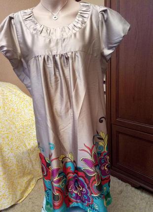 Красивое нарядное  перламутровое платье-туника от george, 20 размер