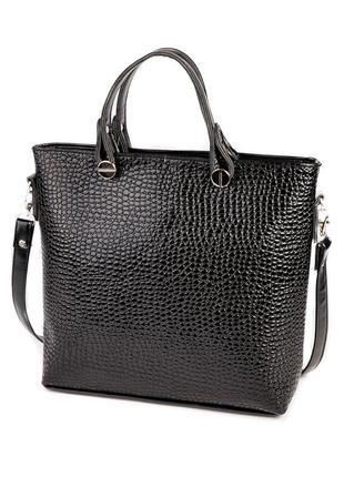 Черная деловая сумка лаковая с ручками и ремешком через плечо фактурная