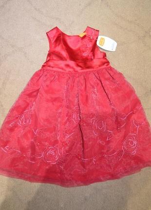 Платье на девочку 1-2 года красное