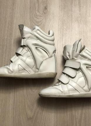 Кроссовки сникерсы белые натуральная кожа