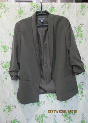Стильный пиджак оливгового цвета /хаки/милитари 46-48 размер