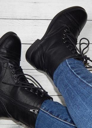 Высокие демисезонные ботинки, берцы на шнуровке в стиле милитари от atmosphere.
