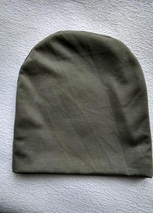 Новая трикотажная оливковая шапочка бини, разные цвета.