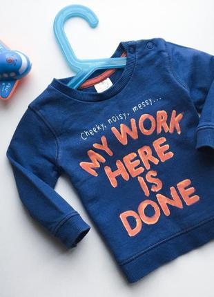 Реглан, пуловер, худи кофта синяя 3-6м 68см до 8кг