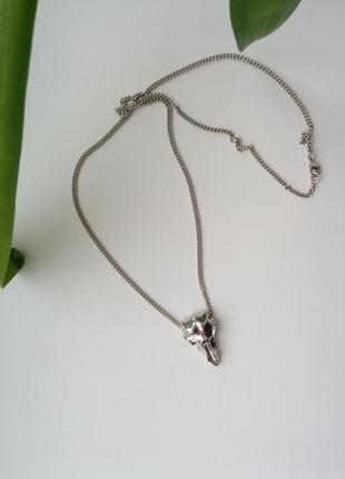 Колье ожерелье цепочка подвеска кулон с черепом череп
