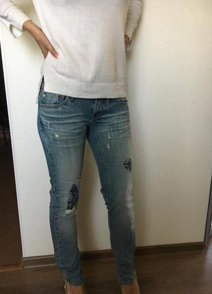 Роскошные джинсы с латками, размер xs / s, оригинал италия плотный деним